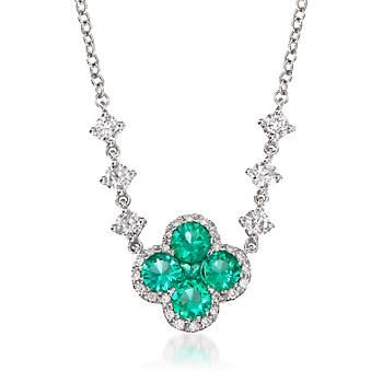 "Ross-Simons - Gregg Ruth .55 ct. t.w. Emerald and .35 ct. t.w. Diamond Floral Necklace in 18kt White Gold. 16"" - #789589"