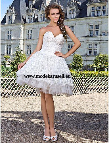 Kurzes Bustier Brautkleid  www.modekarusell.eu