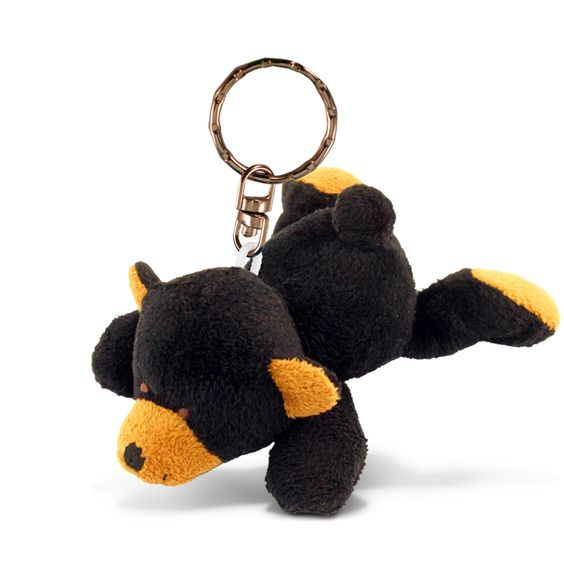 Puzzled Black Bear Plush Keychain