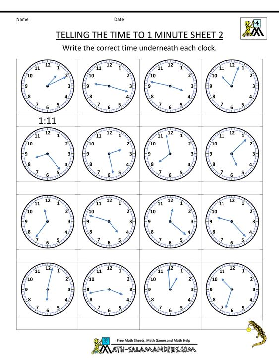 free time worksheets telling the time to 1 min 2 | Telling Time ...