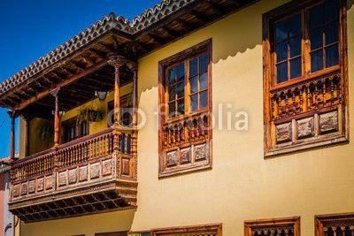 Historical balconies of La Orotava Tenerife Canary Islands