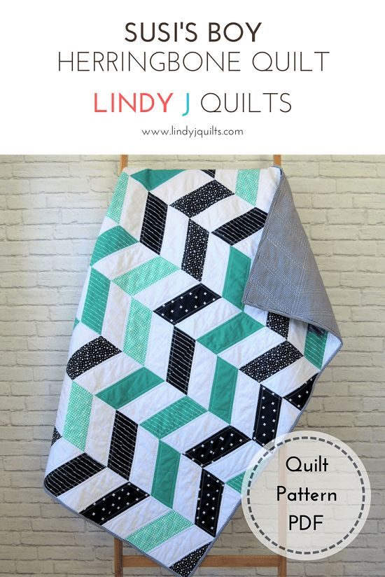 Susi's Boy – A Herringbone Quilt Pattern and Custom Quilt - Lindy J Quilts