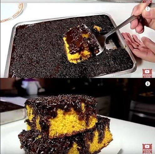 Bolo De Cenoura De Liquidificador Com Cobertura De Chocolate