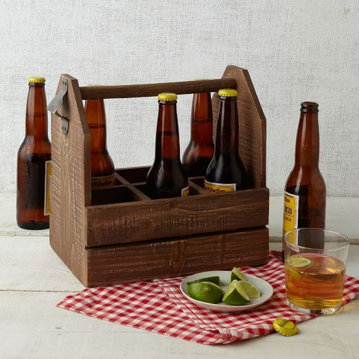 Beer buddy. Classier than a standard six-pack holder, our Wood Beer Caddy lets you transport bottles to a party or picnic in style. Its solid handle is easy to grip and a side bottle opener makes opening a cinch.