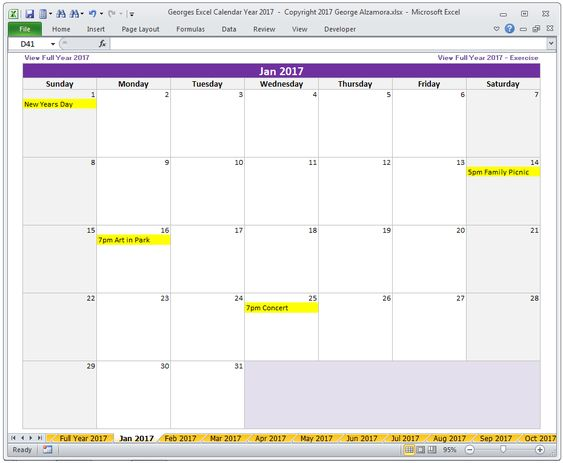 Georges Excel Calendar Year 2017