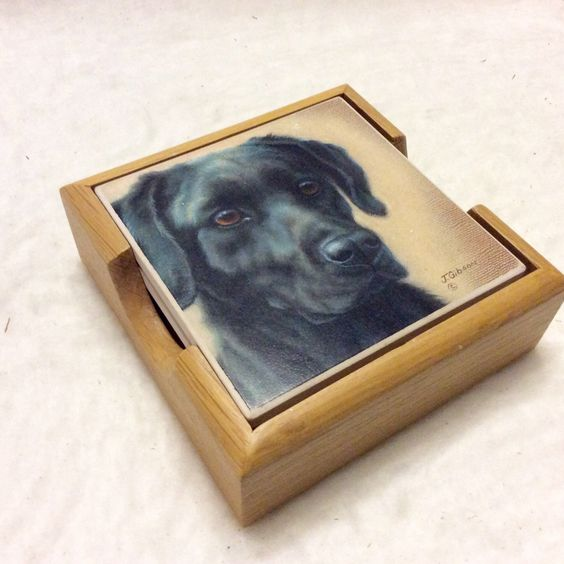 A personal favorite from my Etsy shop https://www.etsy.com/listing/387196920/black-lab-ceramic-coasters-j-gibson