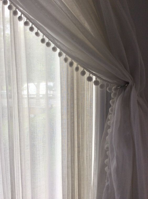 Muslin Curtain With Pom Pom Edge Pom Poms And Ball