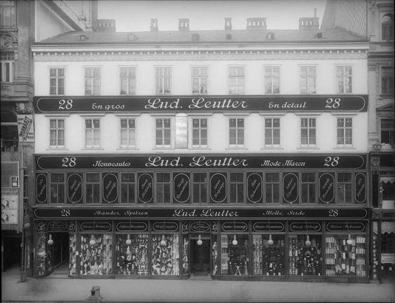 Wien 7, Mariahilferstraße 28  Modewarenhaus 'Lud. Leutter', später vom Warenhaus Herzmansky übernommen. Frontalansicht der Fassade. 1910.
