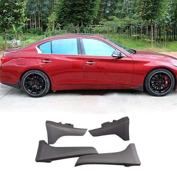 UNPAINTED P-TYPE 3PCS FRONT LIP SPOILER FOR INFINITI 2014~17 Q50 BASE MODELS
