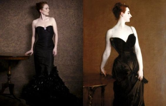 John Sargent painting is recreated with Julianne Moore by Peter Lindbergh.