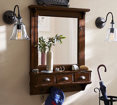 pottery barn entry mirror with hooks 2