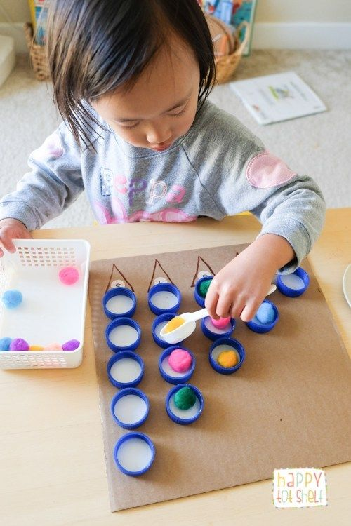 Bottle Caps Counting Board A Brilliant Counting Activity For Toddlers Toddler Activities Toddler Learning Activities Counting Activities