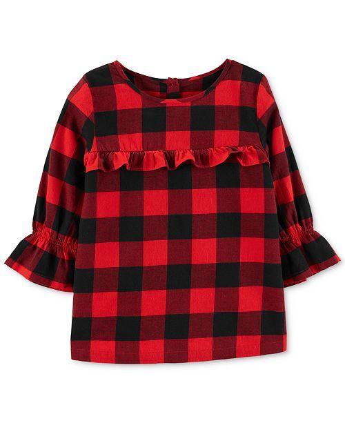 Decoration Family Name Cotton Girl Toddler Long Sleeve Ruffle Shirt Top