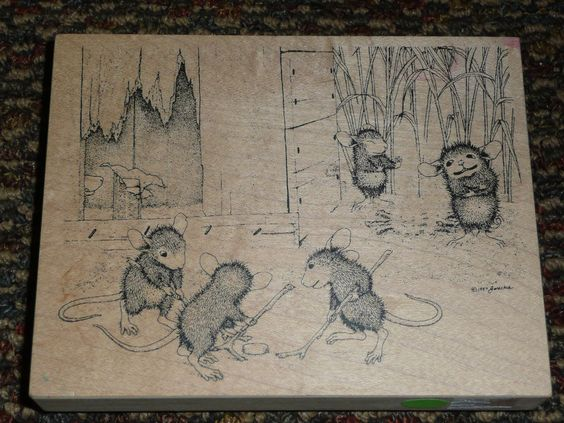 House Mouse Mice on Ice by Stampa Rosa Mice playing hockey