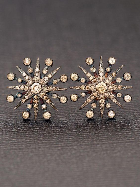 Colette 18k Champagne Diamond Star Earrings at London Jewelers! Love the starburst!