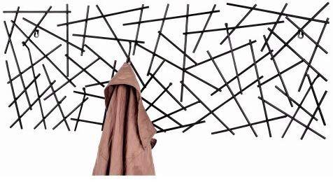 Haku Wandgarderobe Sticks 42862 Mit 6 Garderobenhaken Schwarz