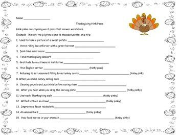 Thanksgiving Hink Pinks Vocabulary Riddles | Word Puzzles, Rhyming ...