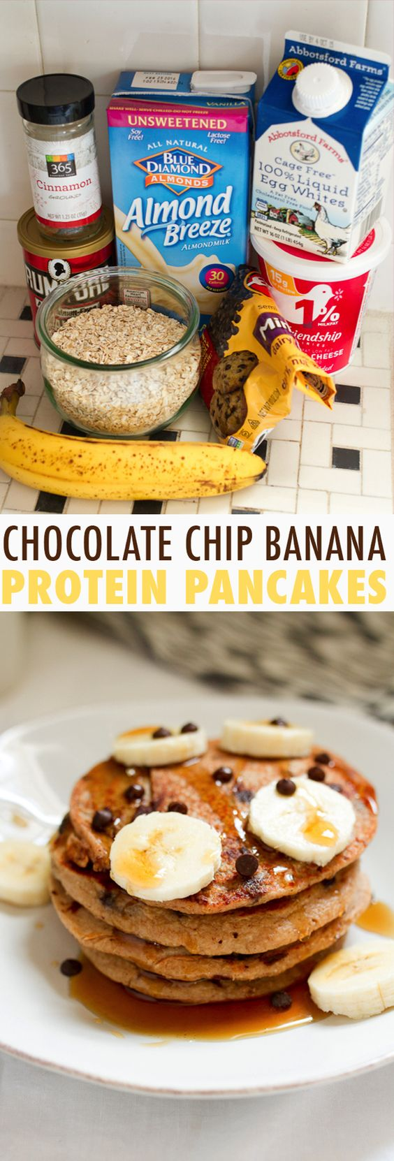 These healthy banana pancakes are made with cottage cheese and egg whites so they're packed with protein and insanely filling.