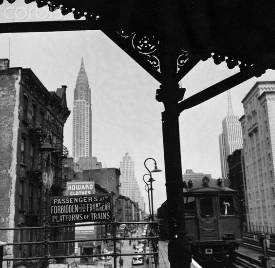 NYC..The Third Avenue El, Chrysler Building can be seen on left. Unknown exact location. Photo from Bettmann Corbis.