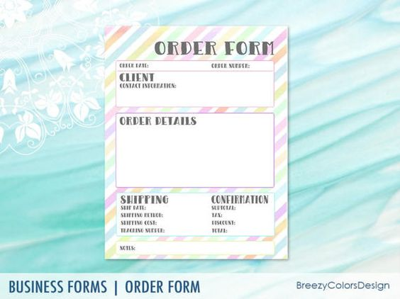 Printable Order Form Template Rainbow by BreezyColorsDesign - product order form