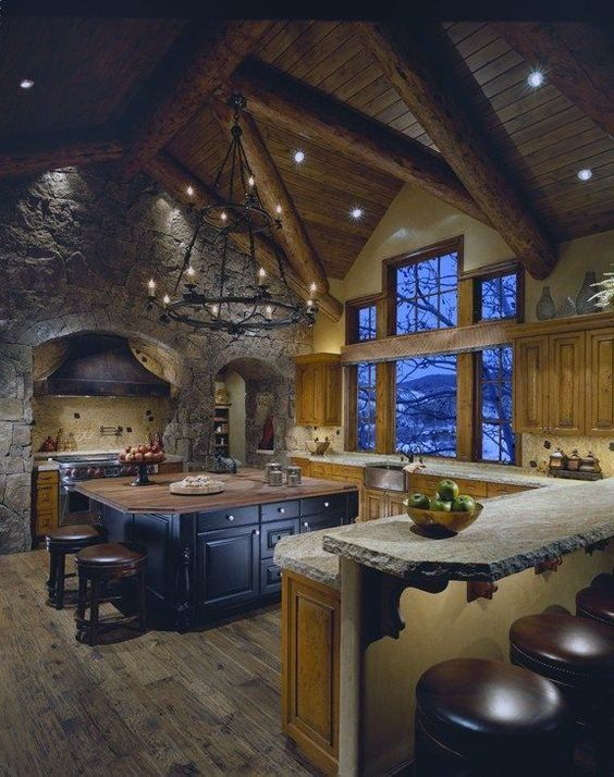 Top 60 Best Log Cabin Interior Design Ideas Mountain Retreat Homes Rustic Country Kitchens Rustic Kitchen Design House Design Photos
