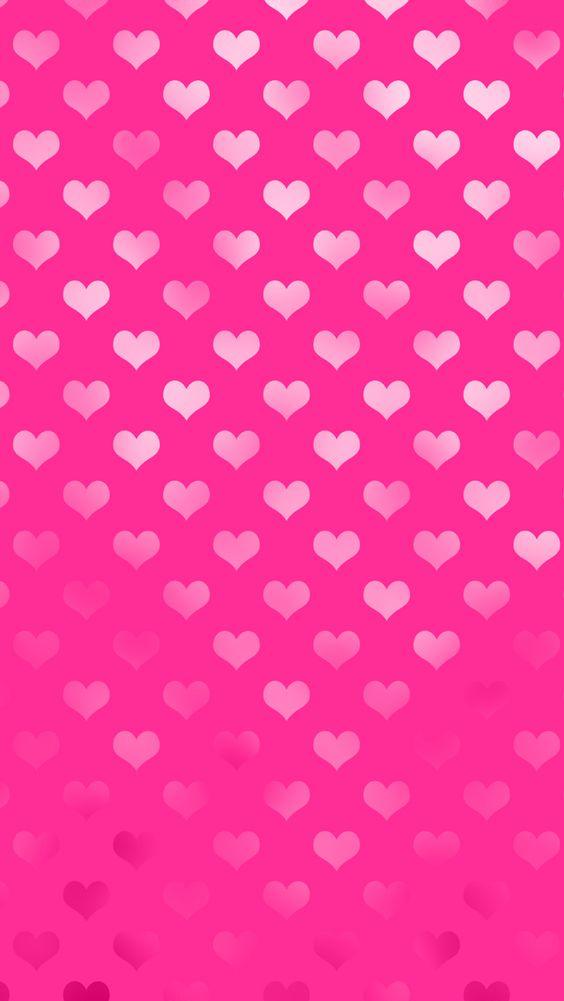 free valentine pink metallic hearts iphone wallpaper