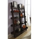 """Riverside Furniture""""Lifestyles Leaning Bookcase in Ebony Brown"""