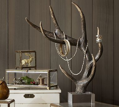 Faux Antler Jewelry Tree #potterybarn - And people think I am crazy!  I did it before they did! And my prices are a lot less!! Check out Chump Changed Designs on Facebook