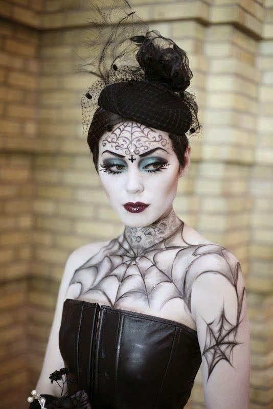 viuva negra, maquiagem, halloween