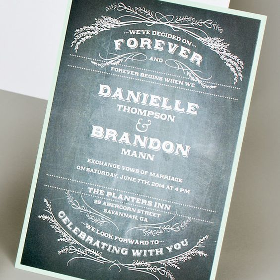 Chalkboard Wedding Invitation by MilanoInk on Etsy