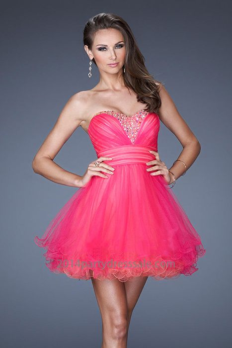 Strapless Hot Pink Short Layered dress