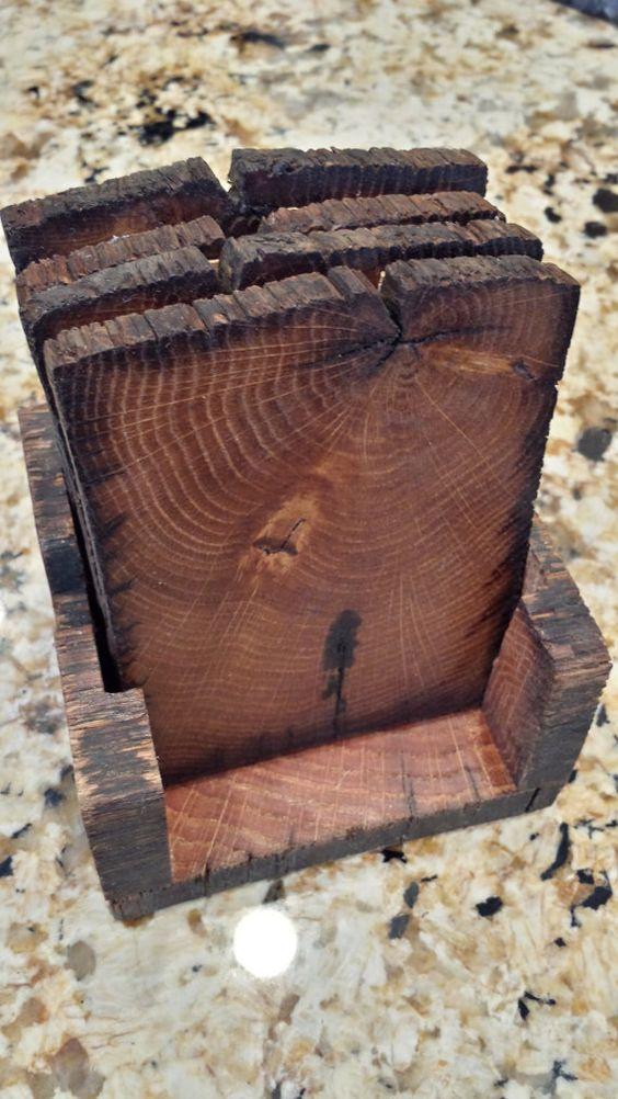Wood coasters reclaimed barn wood and barn wood on pinterest for Diy rustic coasters
