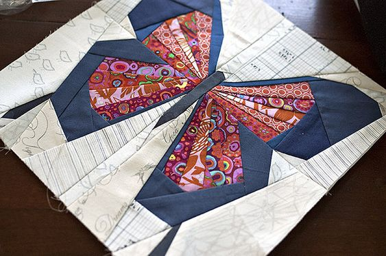 Paper piece butterfly quilt block pattern http://www.craftsy.com/pattern/quilting/other/butterfly-12-paper-pieced-pattern/41138 on craftsy: