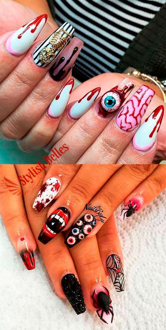 Amazing Halloween Nails Acrylic Coffin Shaped Ideas Nailart Nailartdesigns Halloween Halloweenn In 2020 Halloween Acrylic Nails Halloween Nail Designs Horror Nails