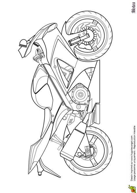 Coloriage D Une Moto Japonaise Pour La Course Hugolescargot Com