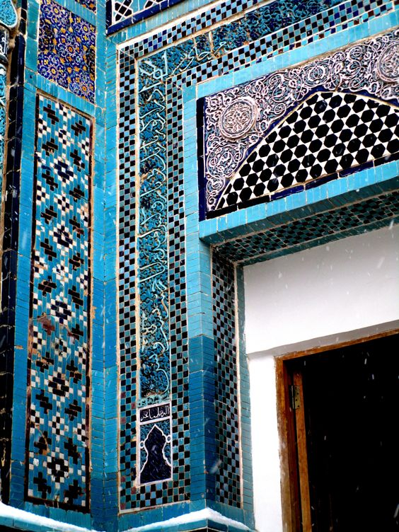 Closeup on the tilework on tomb at the Shah-I-Zinde Mausoleum - Samarkand - Uzbeckistan