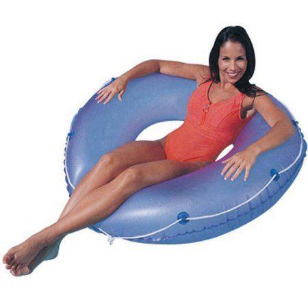 SunSplash 48 inch Inflatable Swim Tube with Rope, Blue