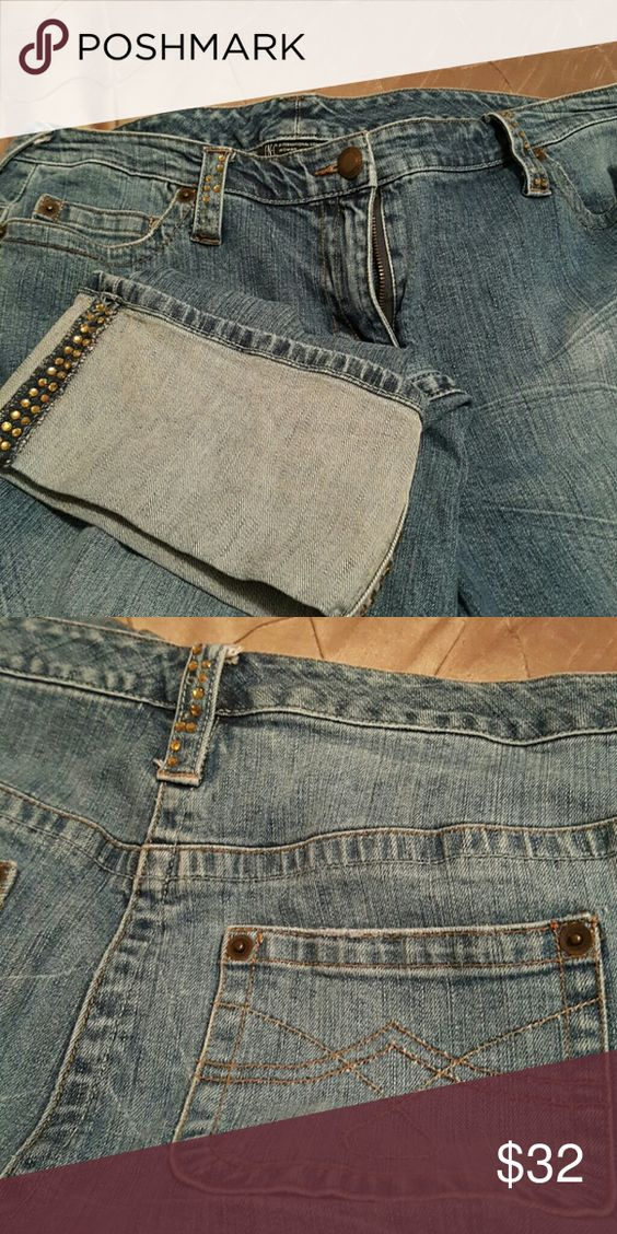 Jeans big cuff jeans with gold bling on cuffs and belt loops, 98% cotton 2% spandex, very comfortable jeans INC International Concepts Jeans Ankle & Cropped