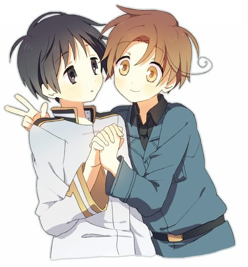 Hetalia - Italy and Japan. Really cute fanart. I understand why Germany is not included. He has to be the hardest thing to draw... Ever.