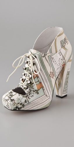 Rodarte print heel high heel booties