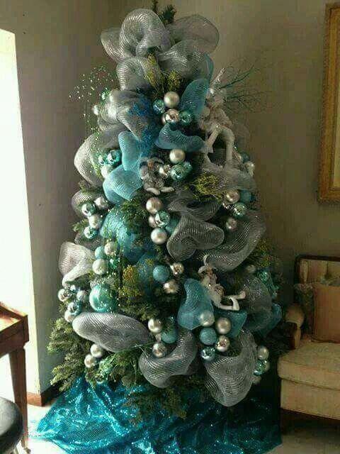 Arboles De Navidad Con Malla Con Imagenes Navidad Turquesa Arbol De Navidad Plateado Arbol De Navidad Dorado
