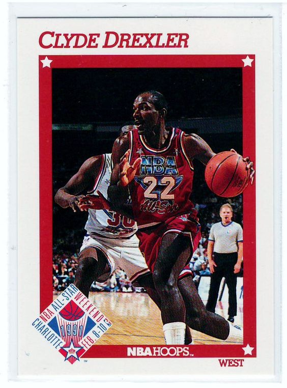 Basketball Trading Cards 1991 NBA Hoops Clyde Drexler