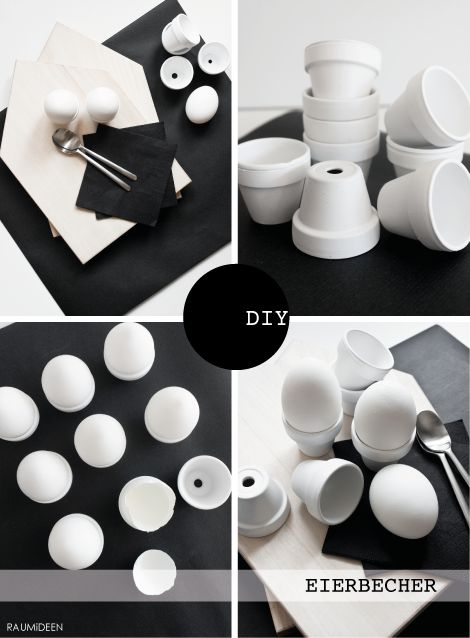 Eierbecher  (Alltagshelden)     Ich habe fleißig Tontöpfe mit weißer Farbe angesprüht. Es ist nicht nur bei den Blumentöpfen  g...