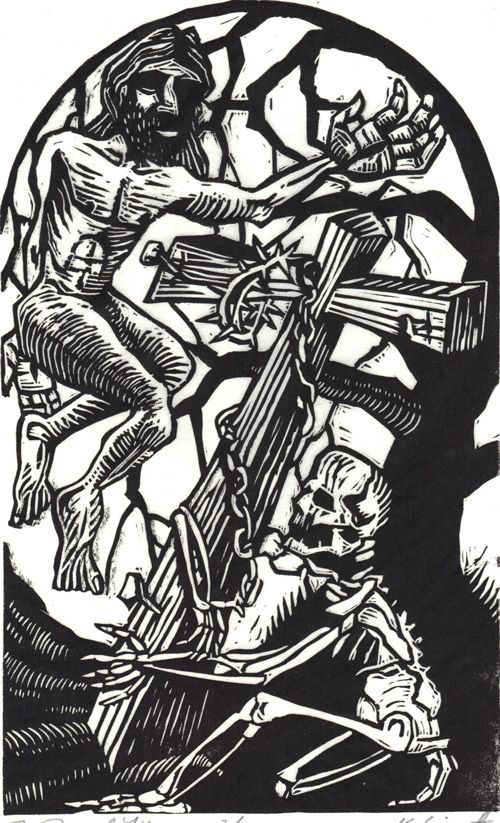 The Linocut Dance of Death - 50 Watts  The Dance of Death by Kreg Yingst    From the collection of Richard Sica