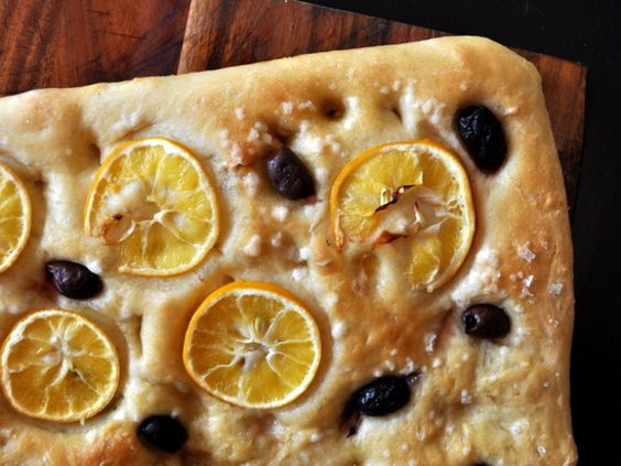 This easy focaccia bread gets a tart bite from thin slices of Meyer lemon and a salty hit from Kalamata olives.