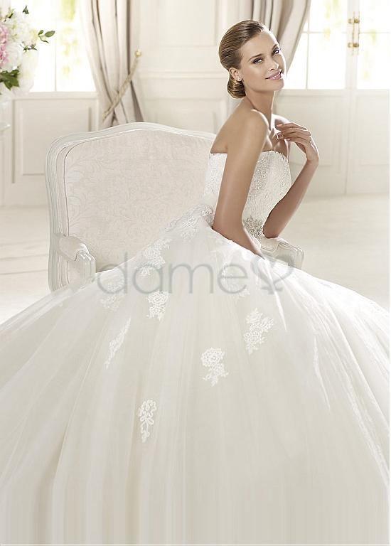 A Linie Tüll Satin halbe Ärmel aufgeblähtes volle länge trägerloses Brautkleider