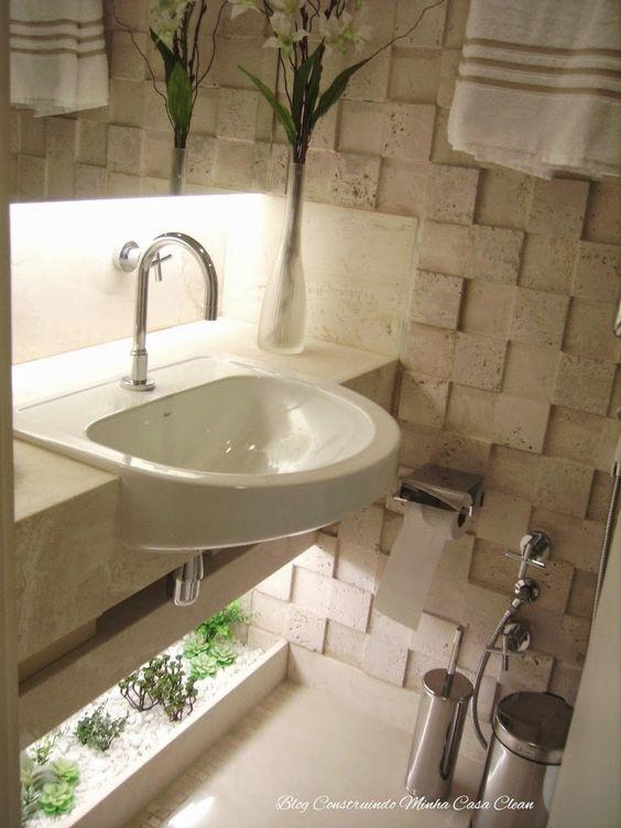 Banheiros e Lavabos com Jardins de Inverno!!! Quais Plantas Usar?  Cleanses -> Flores Artificiais Para Decoracao De Banheiro