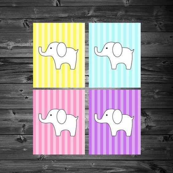 Elephant Stripes - Printable 8x10 Wall Art Set - Girl - by KatiePaigeDesign