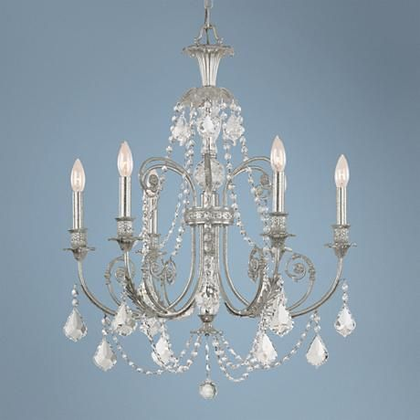 """Crystorama Regis Collection Old Silver 26"""" Wide Chandelier"""