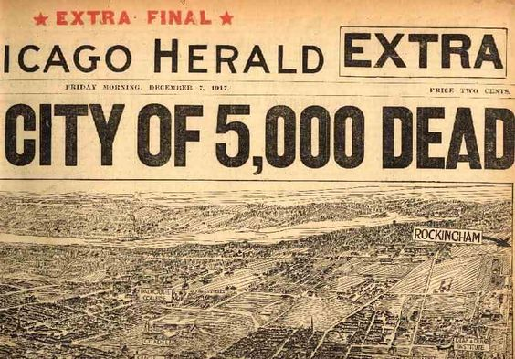Chicago Herald masthead, December 7, 1917. Aerial view of the damage to Halifax as a result of two ships colliding in the harbour (one filled with 3,000 tons of explosives). The city was destroyed in the world's biggest explosion until the advent of nuclear weapons. The explosion was followed by a tidal wave, city-wide fires and a crippling snowstorm:
